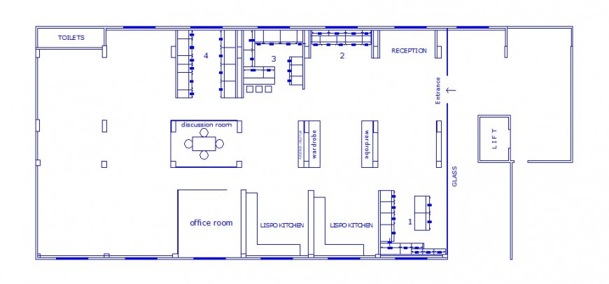 Local small office architecture layout plan cad drawing details dwg file