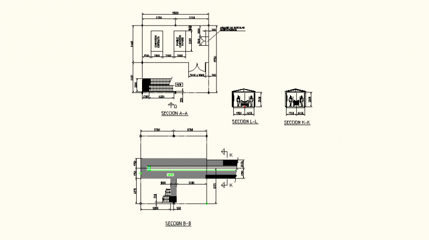 Local store detail plan and section AutoCAD file