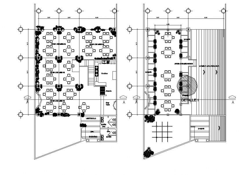 Local two story restaurant floor plan distribution cad drawing details dwg file