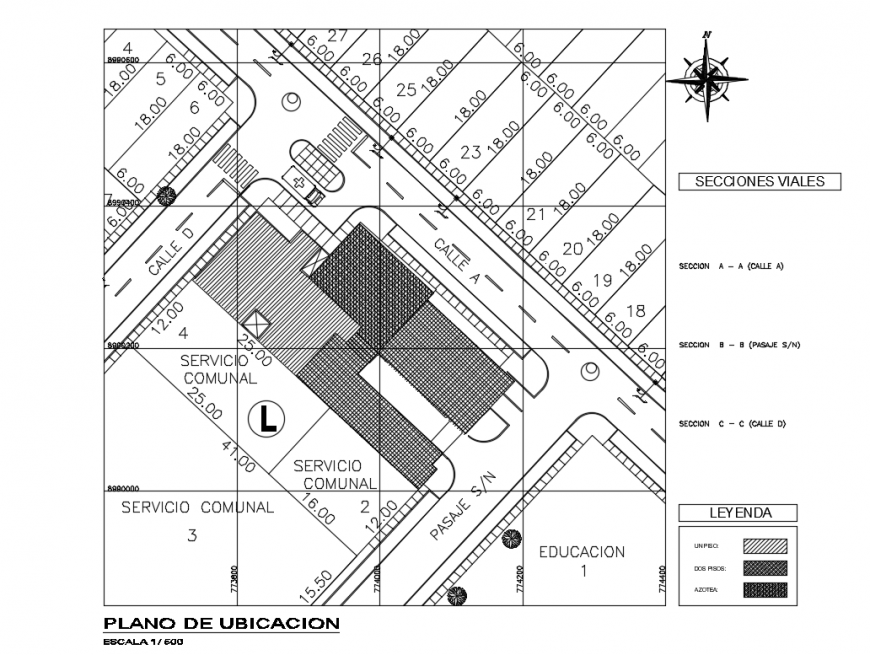Location map and site plan details of municipal hospital dwg file