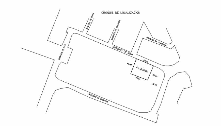 Location map of house plot area simple design drawing