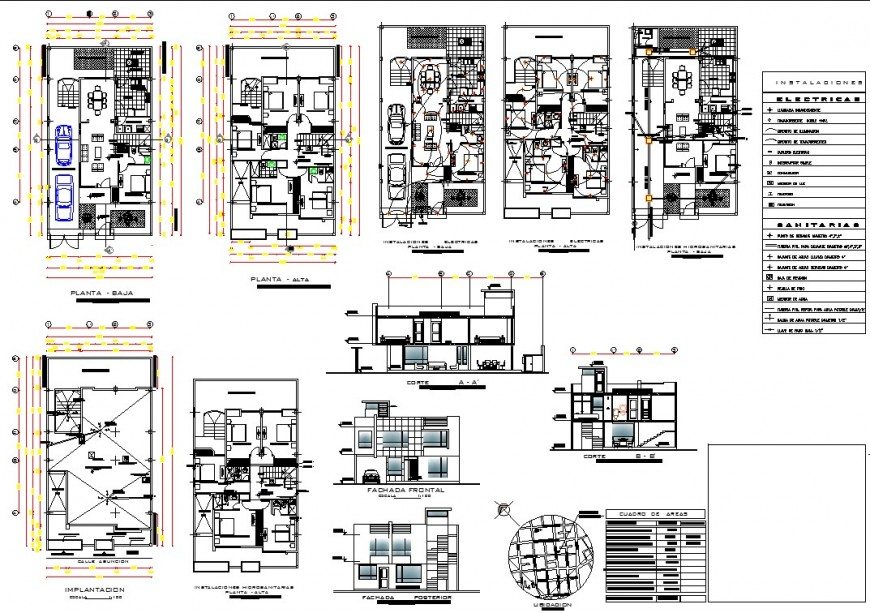 Location plan and electrical house plan autocad file