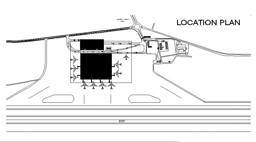 Location plan of airport detail 2d view CAD block layout file in autocad format