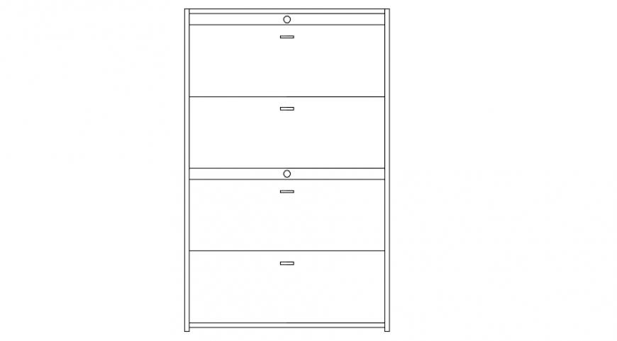 Lockable filing cabinet front elevation detail