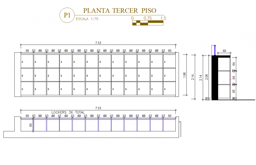 Locker plan, elevation and section detail dwg file