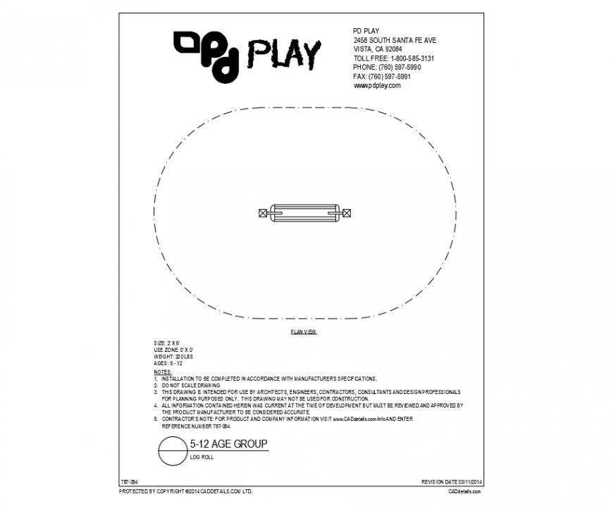 Log roll plan details of play equipment of garden dwg file