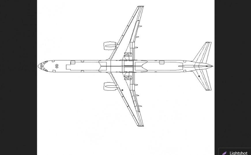 Long plane plan with detail dwg file.