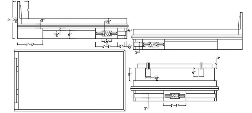 Working Table Desk Design 2d Elevation Furniture Block ...