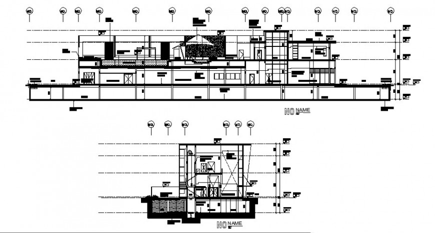 Longitudinal and cross section of club house cad drawing details dwg file