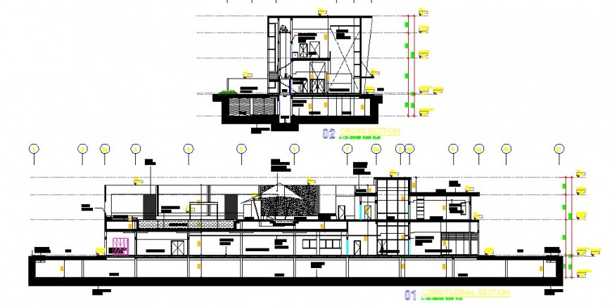 Longitudinal and cross sectional details of club house dwg file