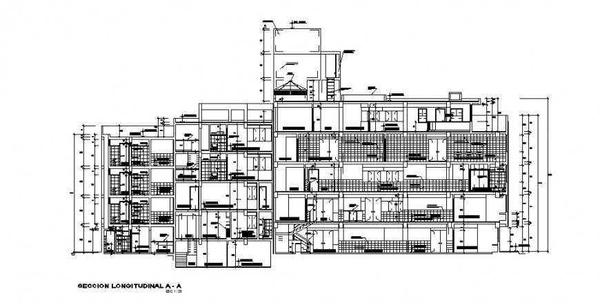 Longitudinal facade sectional details of multi-family apartment building dwg file