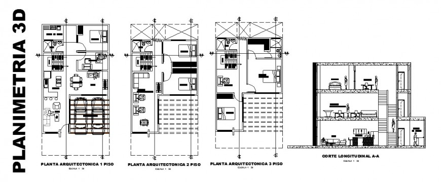 Longitudinal section and floor plan layout details of one family house dwg file