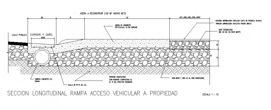 Longitudinal section ramp access vehicular to property dwg filee