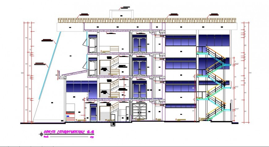 Longitudinal sectional details of regional office building dwg file