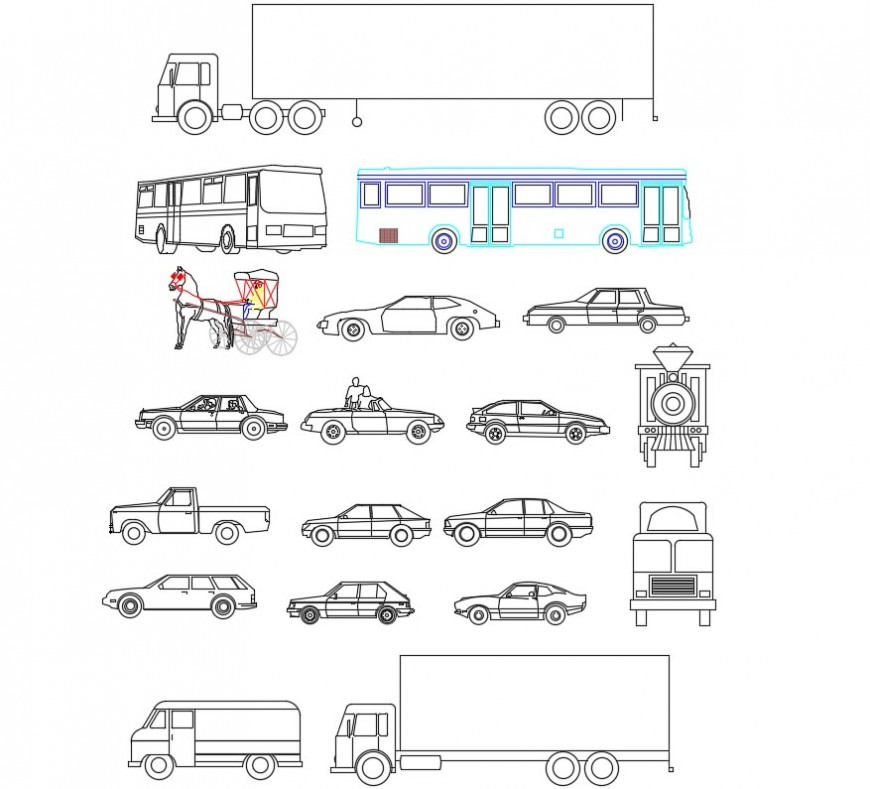 Lorry and buses 2d block detail