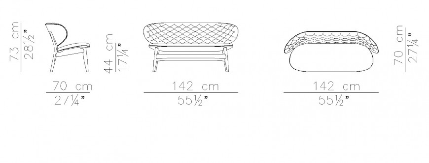 Lounge chair plan and elevation drawing in dwg file.