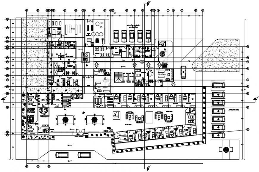 Low plan of hospital in AutoCAD file