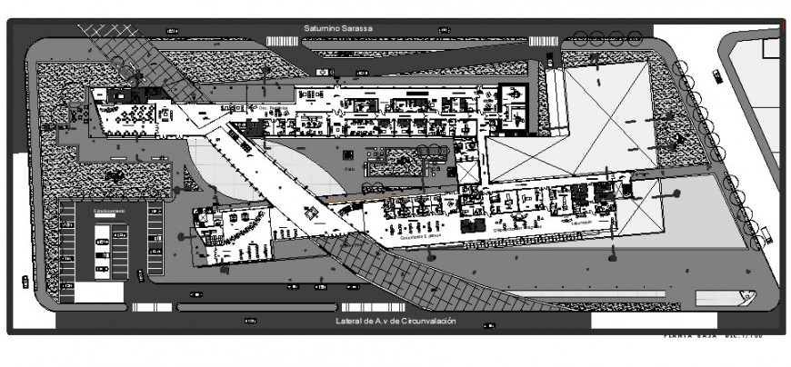 Low plan of hospital area in auto cad