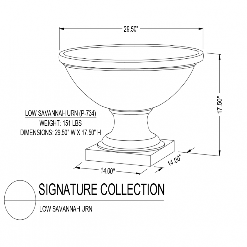 Low Savannah urn isometric view dwg file