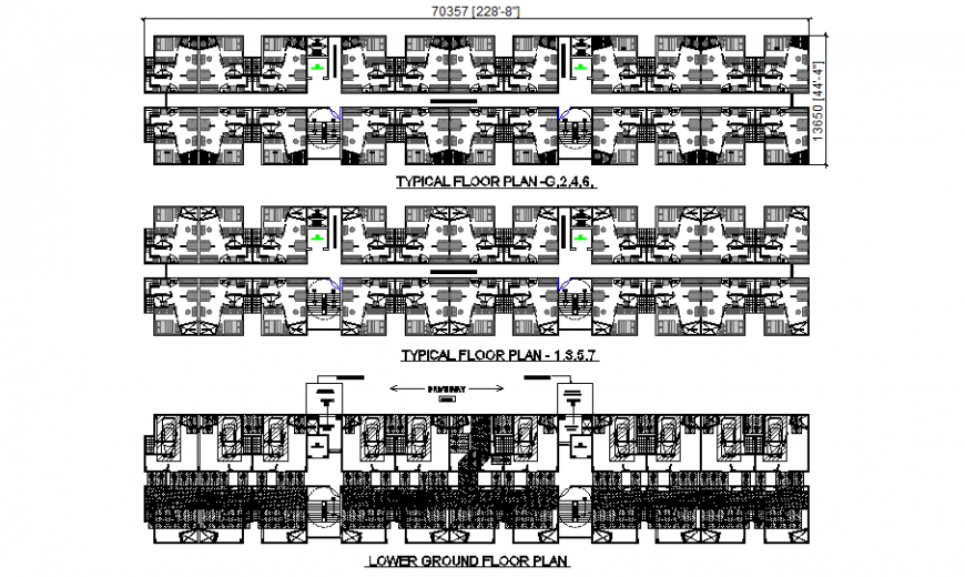Lower ground floor, first floor and second floor plan details of multi-story apartment building dwg file