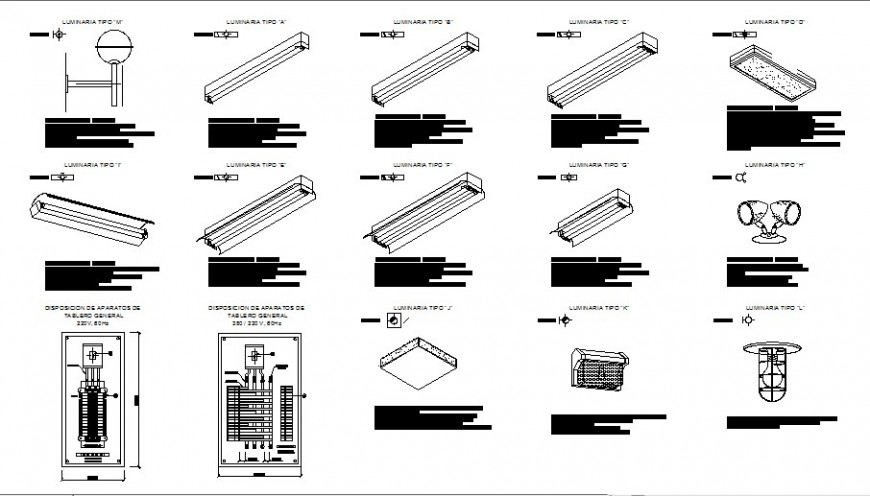 Luminary false ceiling LED lights and other lights electric installation drawing details dwg file
