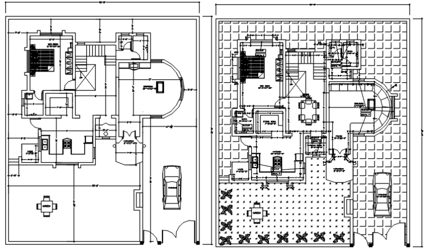 Luxuries bungalow floor distribution plan cad drawing details dwg file
