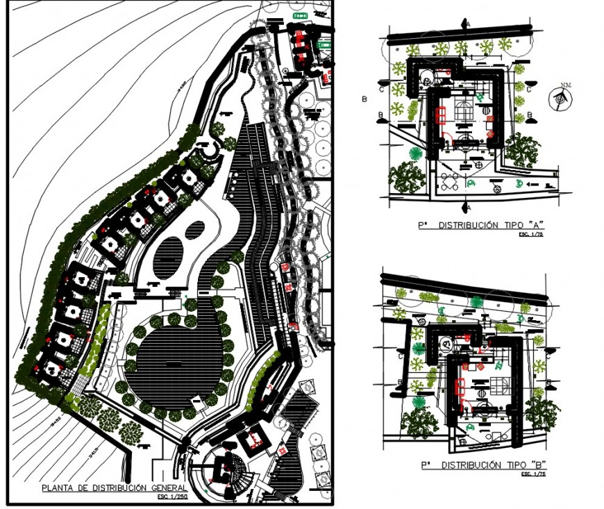 Luxurious bungalow floor plan distribution and landscaping details dwg file