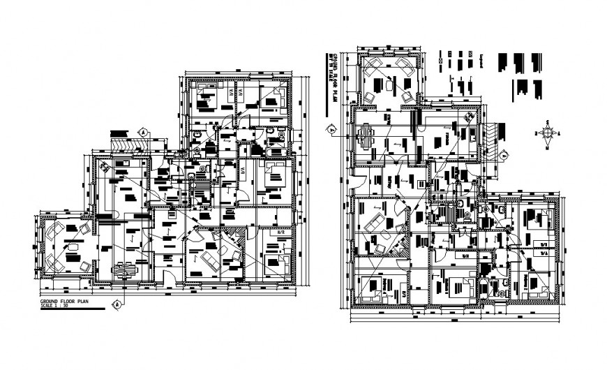 Luxuries bungalow ground and first floor plan cad drawing details dwg file
