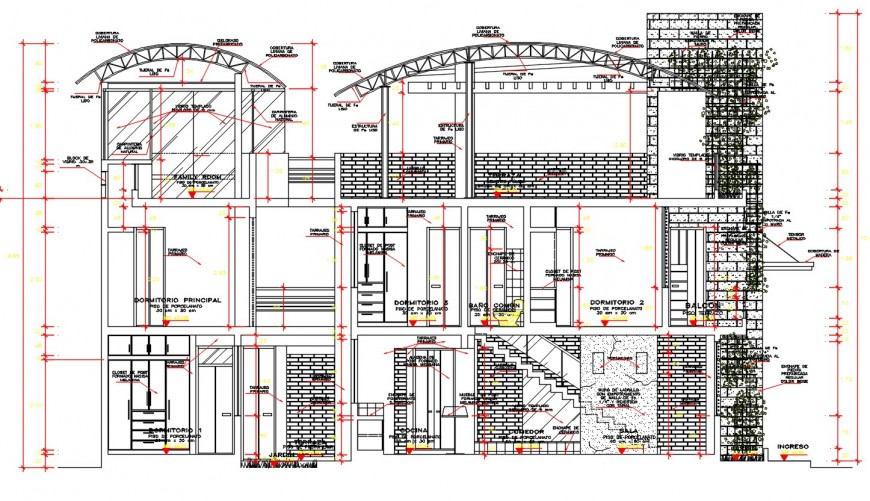 Luxurious bungalow main and side section cad drawing details dwg file