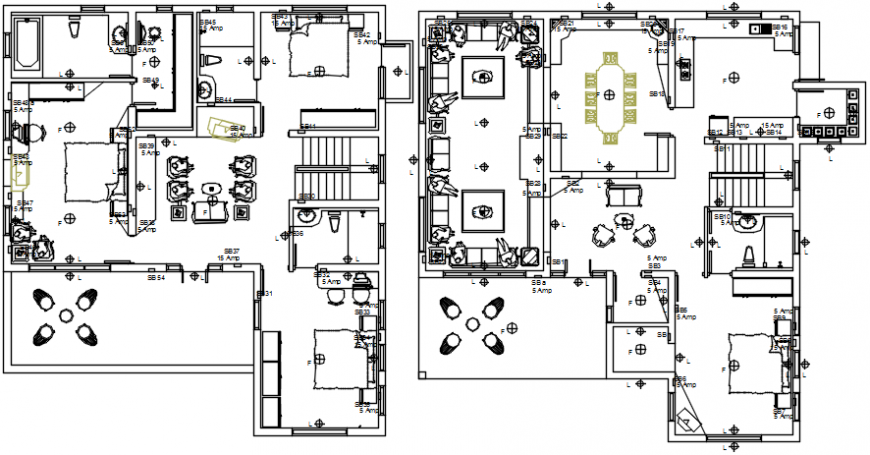 Luxuries bungalow with furniture layout cad drawing details dwg file