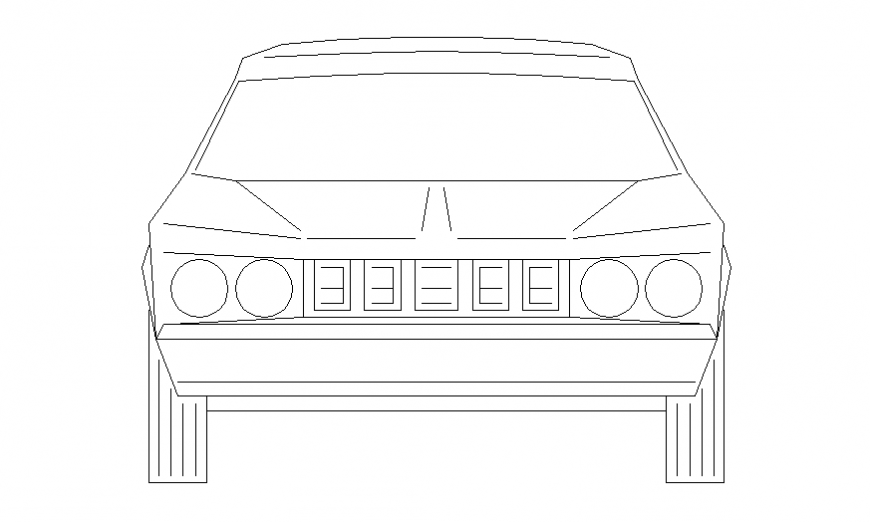 Luxuries car front elevation block cad drawing details dwg file