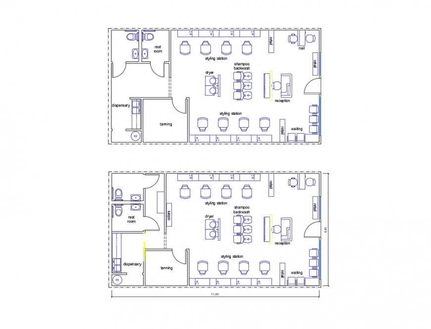 Luxuries city salon store layout plan cad drawing details dwg file