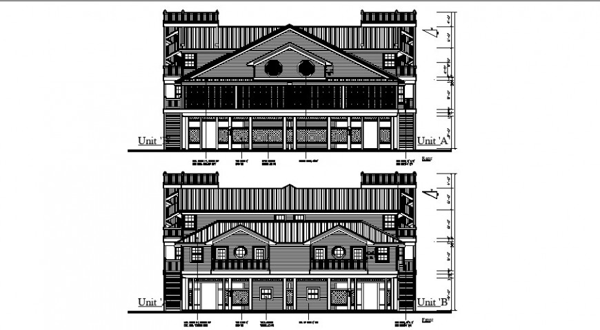 Luxuries classic bungalow front and back elevation cad drawing details dwg file