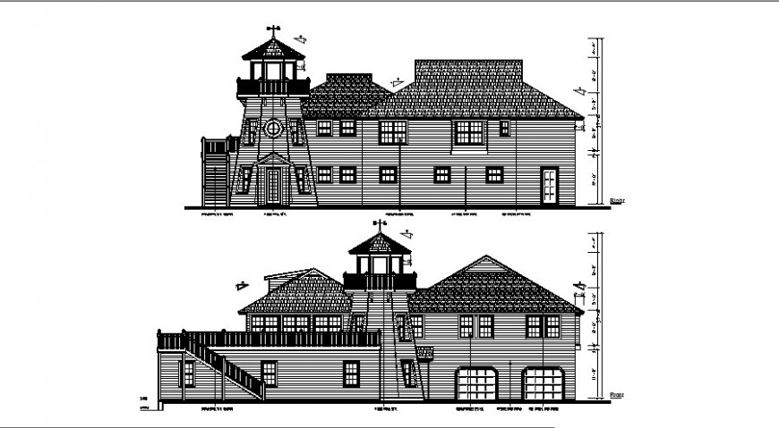Luxuries classic villa front and back elevation drawing details dwg file