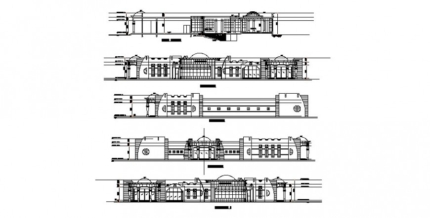 Luxuries club house all sided elevation cad drawing details dwg file