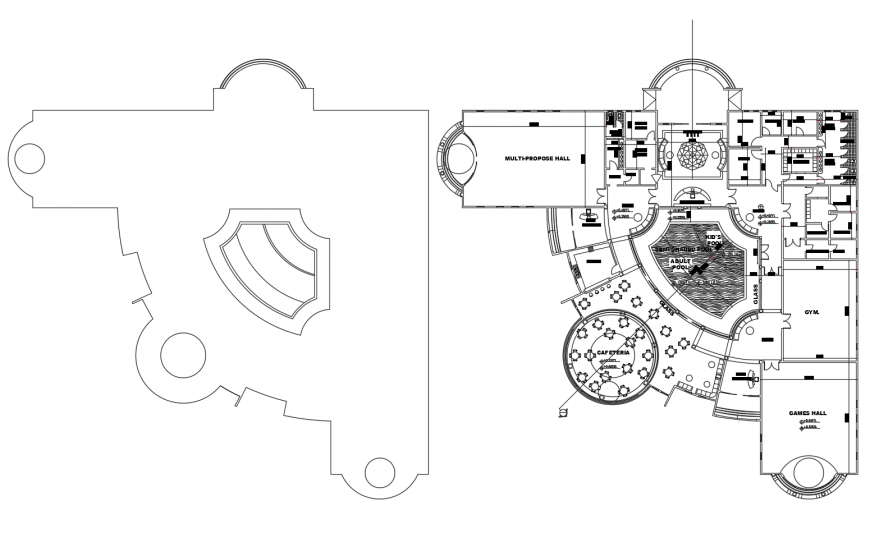 Luxuries club house architecture layout plan cad drawing details dwg file
