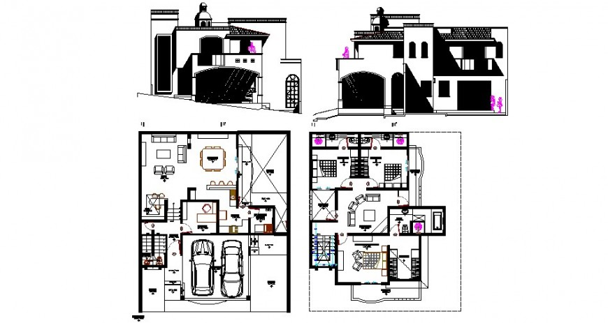 Luxuries club house elevation and floor plan cad drawing details dwg file