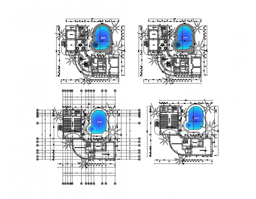 Luxuries club house with swimming pool distribution plan cad drawing details dwg file