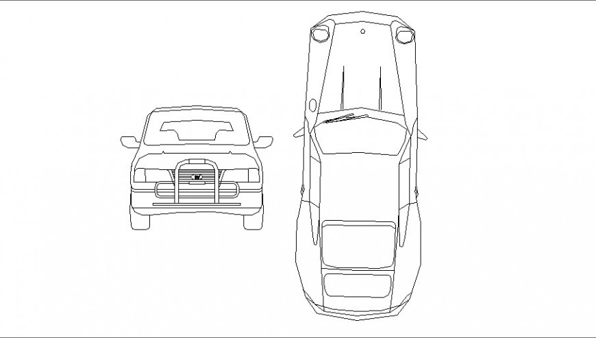 Luxuries family car front and top view elevation block details dwg file