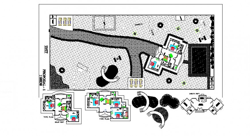Luxuries farm house distribution and floor plan cad drawing details dwg file