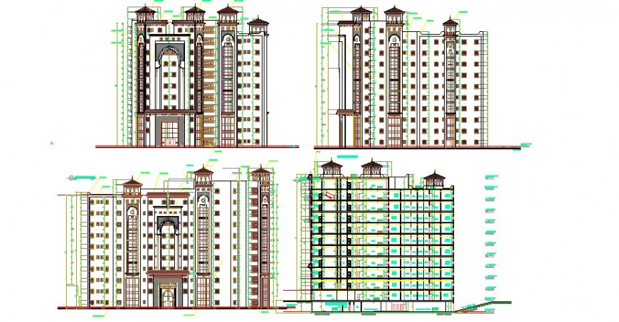 Luxuries five star hotel all sided elevation cad drawing details dwg file