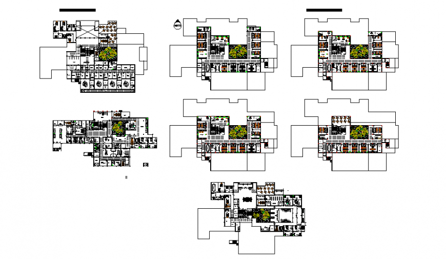Luxuries five star hotel multi-story floor plan layout cad drawing details dwg file