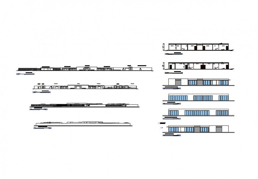 Luxuries hotel all sided elevation and section cad drawing details dwg file