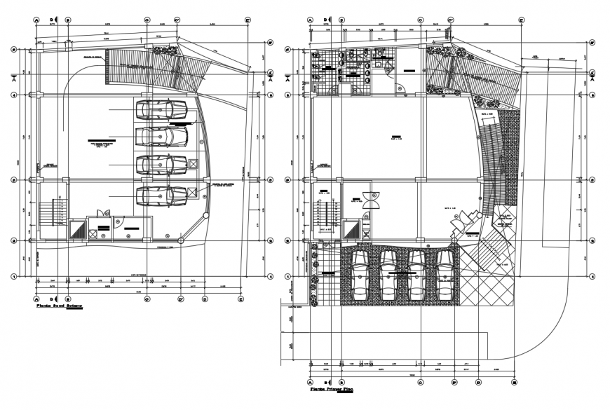 Luxuries hotel basement and ground floor plan cad drawing details dwg file