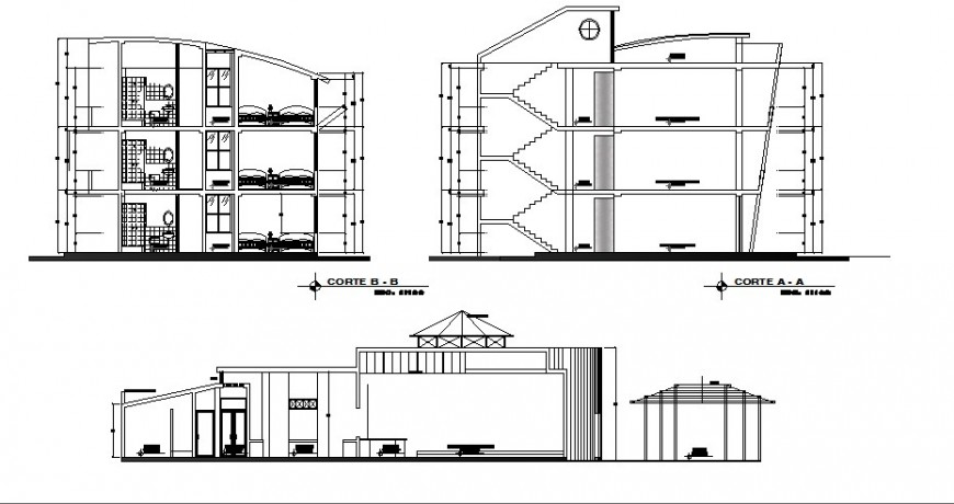 Luxuries hotel building and bedrooms all sided section cad drawing details dwg file