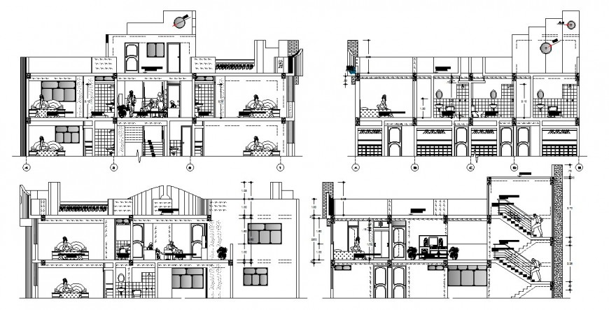 Luxuries hotel building apartments all sided section cad drawing details dwg file