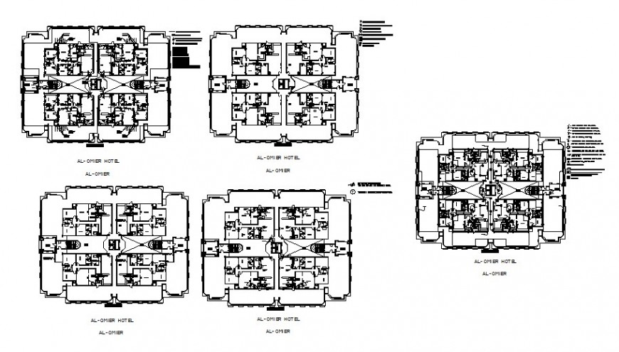 Luxuries hotel building floor plan drawing details with pent house dwg file