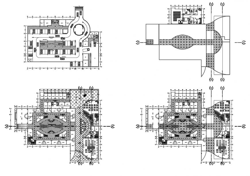 Luxuries hotel building four floor distribution plan cad drawing details dwg file