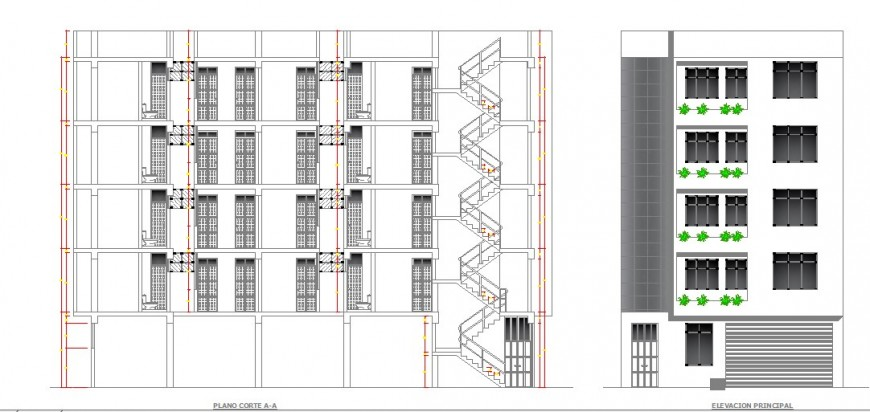luxurious hotel building main elevation and section drawing details dwg file