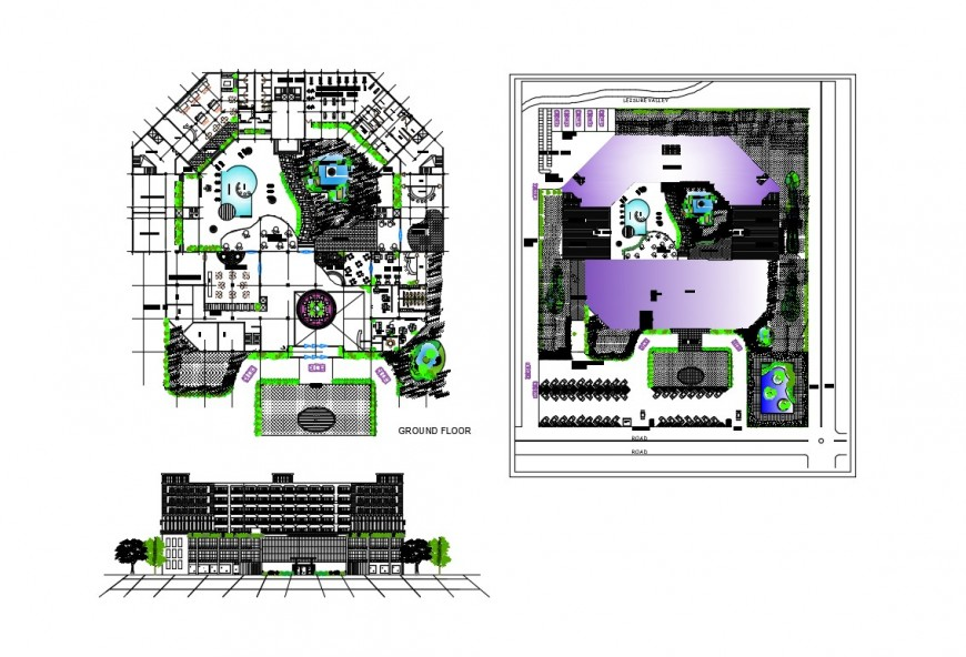 Luxuries hotel elevation, site plan and ground floor plan details dwg file